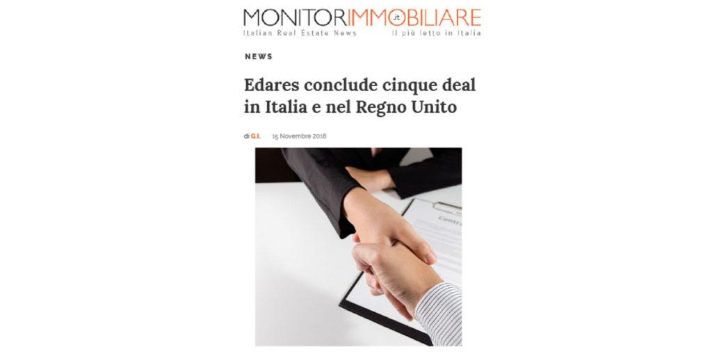 Edares conclude cinque deal in Italia e nel Regno Unito